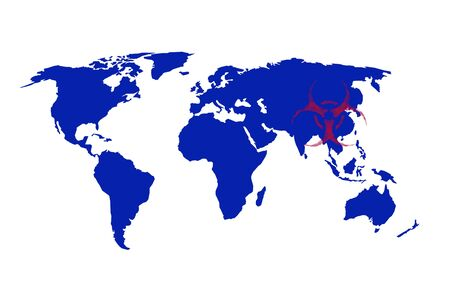 infection bio hazard illustration world map on white background Stock Photo