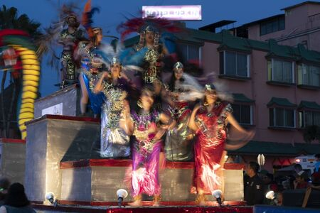 LA PAZ, MEXICO - FEBRUARY 22 2020 - Traditional Baja California Carnival with thousand of people, parade, food and dance.