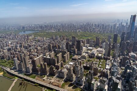 new york city manhattan central park panorama aerial view from helicopter