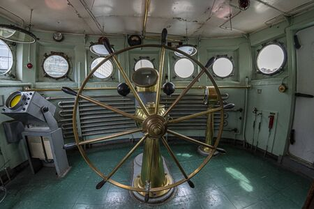 steering wheel old ship command bridge view
