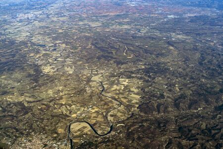 Po River Valley Italy aerial view panorama from airplane