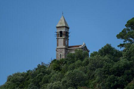church on Gallinara Chicken island in liguria Italy view landscape