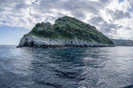 Gallinara Chicken island in liguria Italy view landscape
