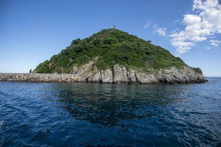 Gallinara Chicken island in liguria Italy view landscape Stockfoto - 149852913