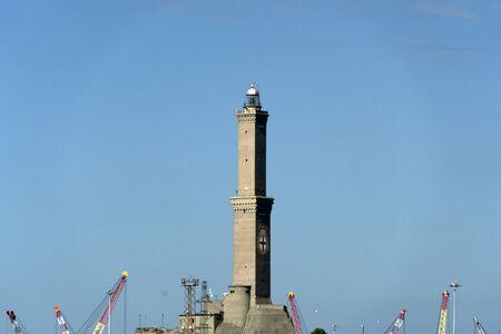 Genoa Lanterna Lighthouse view on sunny winter day Archivio Fotografico