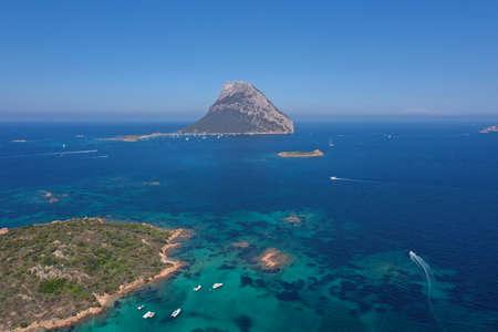 Tavolara island sardinia aerial view crystal turquoise water panorama