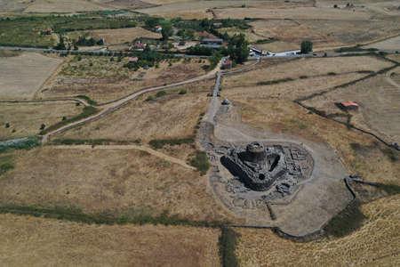 Santu Antine nuragic stone age Sardinia Nuraghe aerial view panorama Standard-Bild