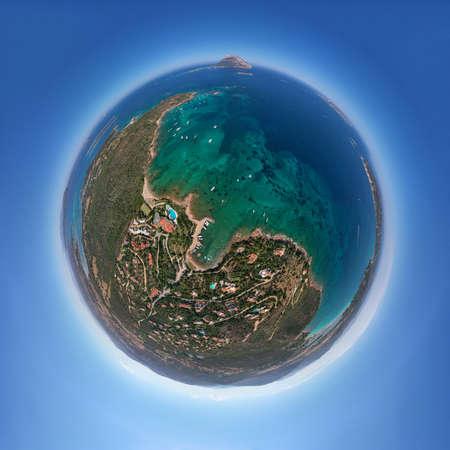 Tavolara island sardinia aerial view crystal turquoise water sphere panorama Standard-Bild