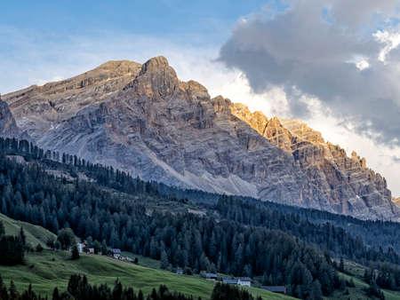 monte croce cross mountain in dolomites badia valley panorama landscape Standard-Bild