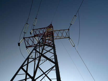 High voltage electrical pole cable detail Standard-Bild