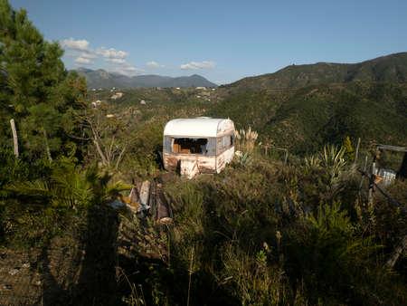Old abandoned rv camper caravan