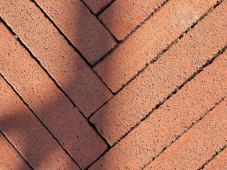 diagonal red brick path detail