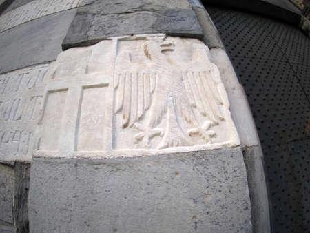 genoa saint matthew san matteo old historical church latin writings and decorations low relief