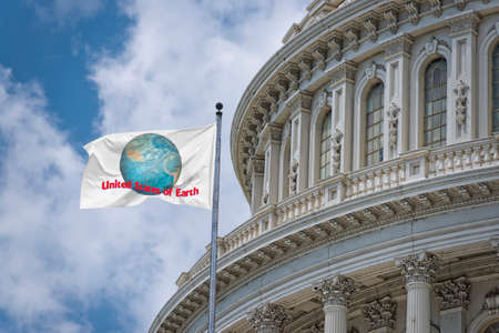 Washington DC Capitol dome detail with waving United States of Earth Flag