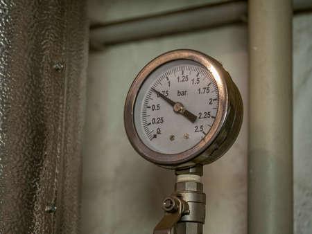 Distillery pressure gauge close up detail