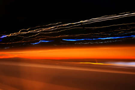 Abstract lights on the night road