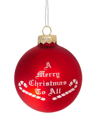A Merry Christmas To All  Red christmas ball over white background Stock Photo