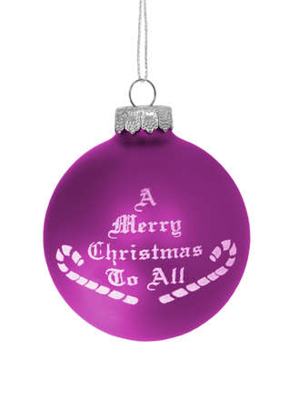 Purple christmas ball over white background