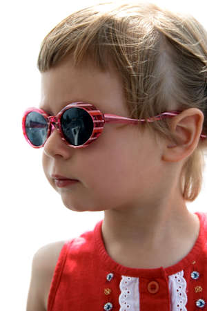Portrait of little girl with sunglasses (isolated) Stock Photo