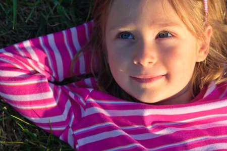 Dreaming little girl Stock Photo