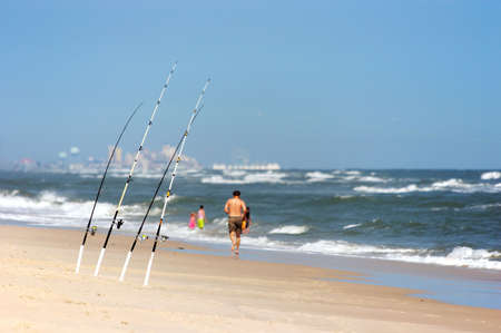 angling: Angling rods at the beach Stock Photo