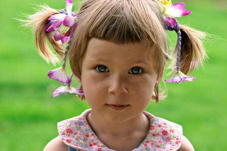 baby hairstyle: Portrait of little girl Stock Photo