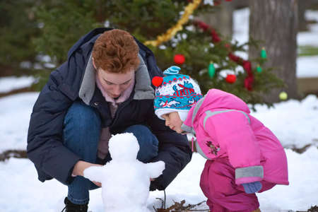 To build a snowman Stock Photo