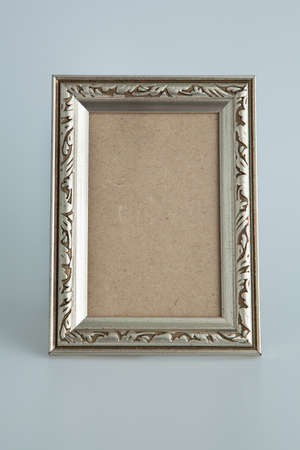 Silver antique frame isolated Stock Photo