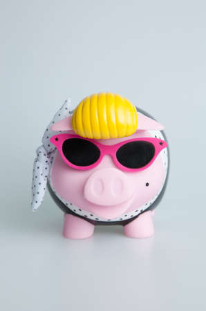 Pink Rock n Roll Piggybank with sunglasses