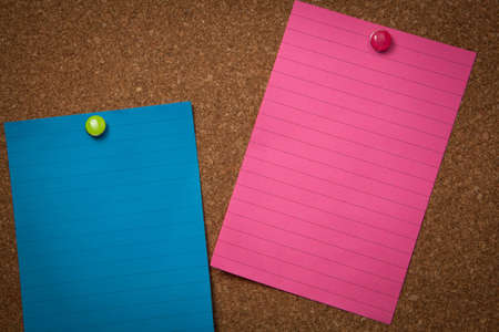 blanked: Colorful blanked notes pinned on a corckboard