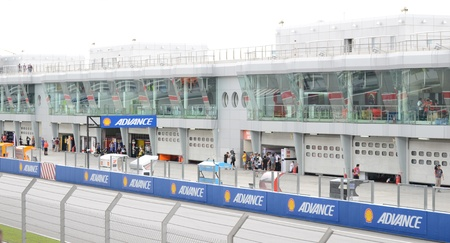 sic: View of pitstop area of Sepang International Circuit (SIC) on MotoGP event in Sepang, Malaysia.