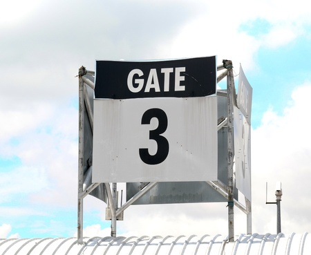 Sign of gate 3 on top roof