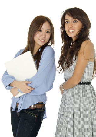 Two teen girls in caring each other photo