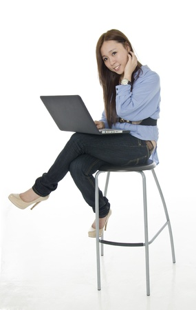 chinesse: Chinesse girl in poses with netbook