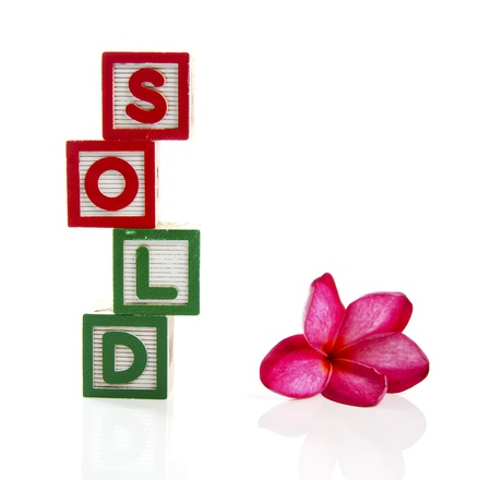 tessera: Sold in wooden block with fragipani flower