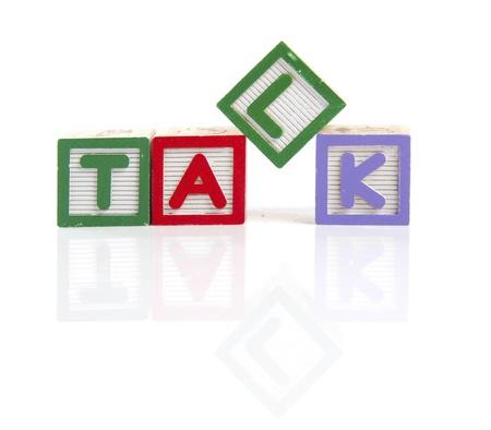 tessera: Talk letters on wooden blocks