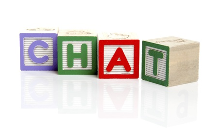 tessera: Chat letters on wooden blocks