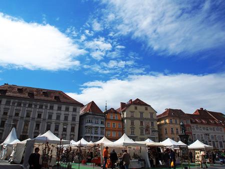 hauptplatz: Easter handmade market at Hauptplatz, Graz, Austria