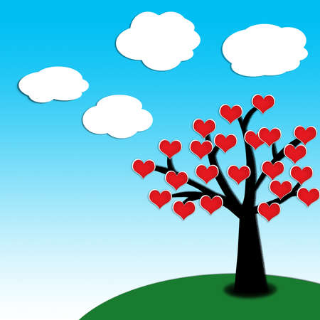 szív tavasszal egy fa tiszta kék ég háttér