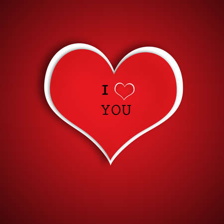 Red Heart With text I love You and Shadow Valentine Stock Photo