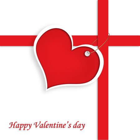 Red Heart With red red line and text Happy Valentine