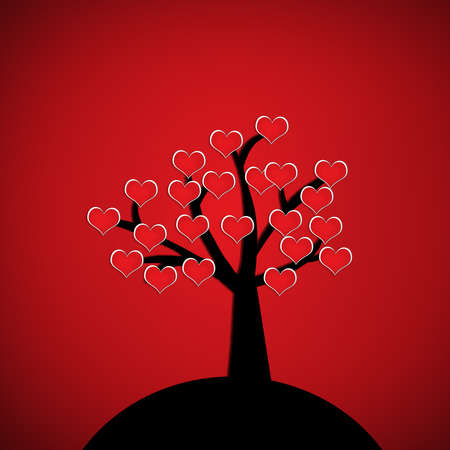 red heart on silhouette tree on red background. Valentine postcard concept