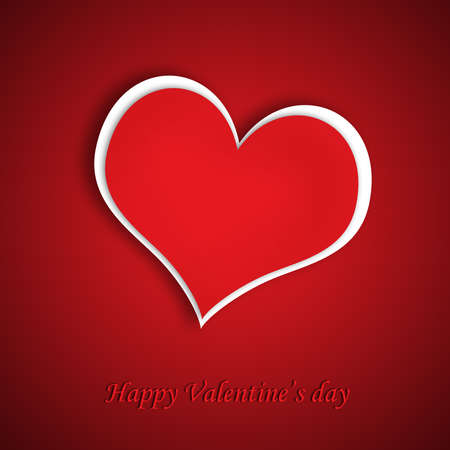Red Heart With Shadow Valentine Stock Photo