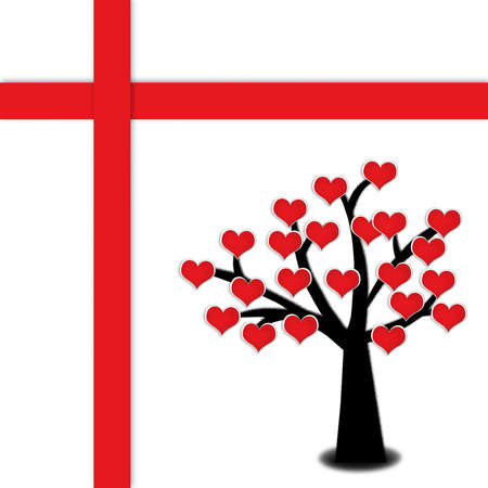 red blooming heart on silhouette tree with red cross, Valentine