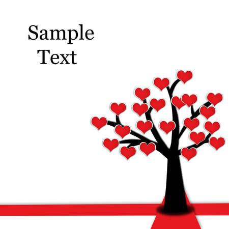 piros virágzó szív alakot fa, piros kereszt, Valentine