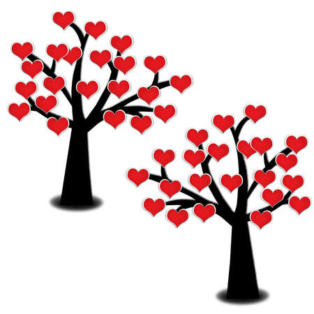 red blooming heart on silhouette tree isolated on white backfground