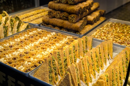 Turkish sweet food baklava in the street shop Stock Photo