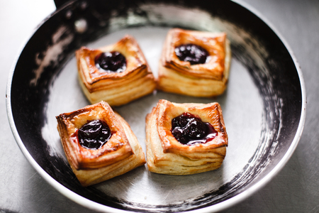 Viennese pastries in a cast-iron frying pan Stock Photo
