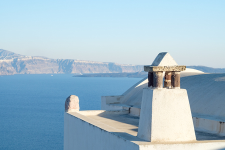 horizon and abstract shapes roof of Oia village, Santorini, Greece