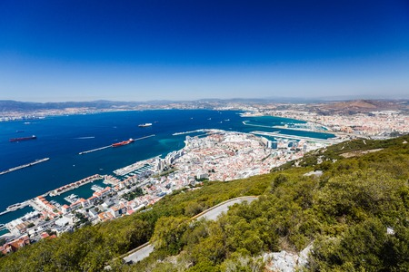 View of the bay and docks from the rock of Gibraltar Stock Photo